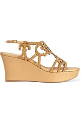 Rene Caovilla Embellished Suede And Metallic Leather Wedge Sandals Gold