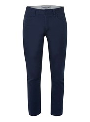 Topman Navy Twill Cropped Stretch Skinny Trousers Blue