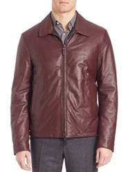 Canali Reversible Leather Jacket Red