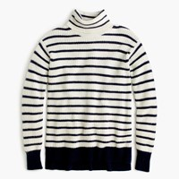 J.Crew Ribbed Relaxed Wool Turtleneck In Stripe Ivory Navy