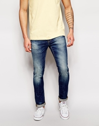 United Colors Of Benetton Washed Jeans In Skinny Fit Midblue619
