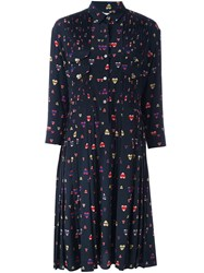 Chinti And Parker Pleated Heart Print Shirt Dress Blue