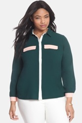 Eloquii Colorblock Blouse Plus Size Green