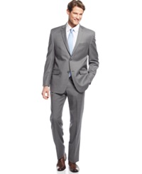 Andrew Marc New York Marc New York By Andrew Marc Medium Grey Striped Slim Fit Suit