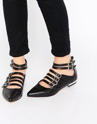 Truffle Collection Edlyn Multi Strap Point Flat Shoes Black Pu