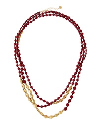 Nakamol Long Merlot Quartz Beaded Necklace Red
