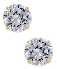 Macy's Cubic Zirconia Round Stud Earrings In 10K Gold Yellow Gold