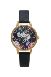 Topshop Olivia Burton Flower Show Black And Gold Watch