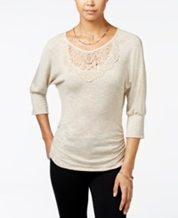 Amy Byer Bcx Juniors' Ruched Embroidered Top Champagne