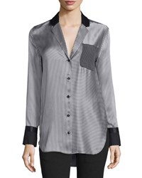 Rag And Bone Farah Silk Charmeuse Striped Blouse Black White Black Wh Bengl