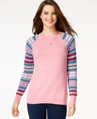 American Living Fair Isle Sleeves Sweater Only At Macy's Prairie Pink Heather Multi