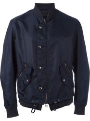 Ermanno Scervino Button Front Bomber Jacket Blue