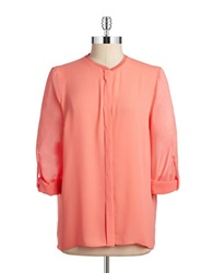 T Tahari Button Front Blouse Sunbeam