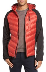 Michael Kors Men's Hooded Water Resistant Down Jacket Red Ochre