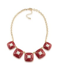 1St And Gorgeous Enamel Pyramid Pendant Statement Necklace In Crimson White Gold