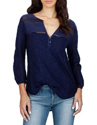 Lucky Brand Lace Front Three Quarter Sleeve Top Eclipse