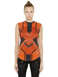 Balmain Sleeveless Printed Cotton T Shirt Black Red
