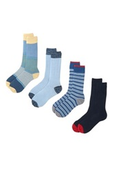 Lucky Brand Stripes Crew Cut Socks Pack Of 4 Blue