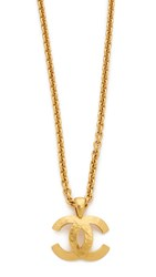 Wgaca Chanel Quilted Cc Necklace Previously Owned Gold