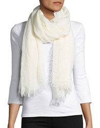 Lord And Taylor Solid Fringe Accented Scarf White