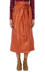 Marc Jacobs Women's Leather Wrap Midi Skirt Tan