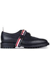 Thom Browne Pebble Grain Leather Classic Longwing Shoes With Commando Sole And Grosgrain Straps
