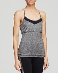 Hard Tail Colorblock Criss Cross Shelf Bra Tank Top Black Charcoal