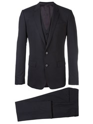Dolce And Gabbana Three Piece Suit Blue