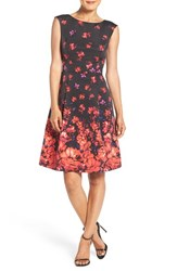 Adrianna Papell Women's Floral Border Print Fit And Flare Dress Black Coral Multi
