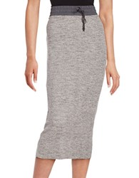 Dkny Ribbed Knit Midi Skirt Heather Grey