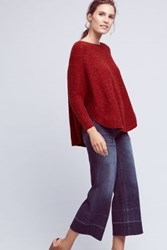 Anthropologie Speckled Poncho Pullover Red