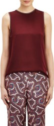 Theory Leather Trimmed Bringam Blouse Red
