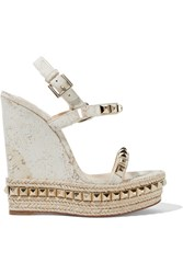 Christian Louboutin Cataclou 140 Embellished Cork Wedge Sandals