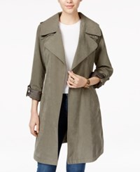 Laundry By Design Draped Asymmetrical Trench Coat Green Olive