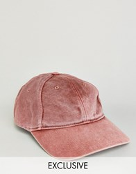 Reclaimed Vintage Washed Baseball Cap In Rust Red
