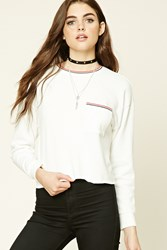 Forever 21 Raw Cut Fleece Sweatshirt Cream Red