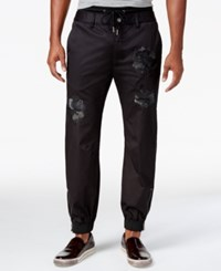 Guess Men's Chintz Embroidered Jogger Pants Jet Black Silver