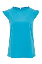 Wolf And Whistle Blue Frill Neck Top