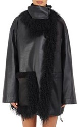 Paco Rabanne Fur Trimmed Leather And Tech Fabric Coat Black