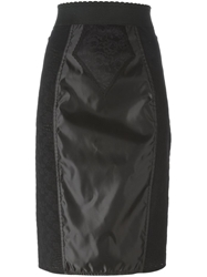Dolce And Gabbana Floral Lace Panelled Pencil Skirt Black
