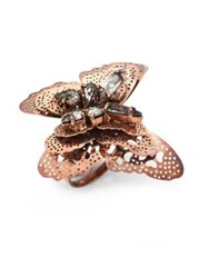Erickson Beamon Splendor In The Rose Swarovski Crystal Ring Rose Gold