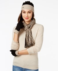 Calvin Klein Two Tone Logo Hat Gloves And Scarf Gift Set Heathered Almond Black