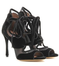Tabitha Simmons Freya High Velvet And Mesh Sandals Black