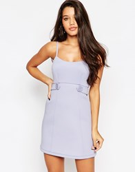 Asos Bonded Strappy Baby Doll Dress With Tab Detail Blue