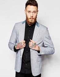 Vito Suit Jacket With Animal Print Navy