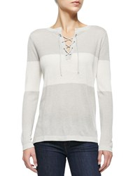 Neiman Marcus Striped Lace Up Henley Top Women's