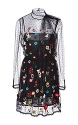 Red Valentino Fancy Flower Embroidered Point D'espirit Short Dress Black
