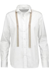 Brunello Cucinelli Bead Embellished Cotton Blend Shirt White
