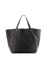 Neiman Marcus Beaded Quilted Tote Bag Black Shin