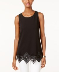 Alfani Sleeveless Faux Leather Trim Top Only At Macy's Deep Black